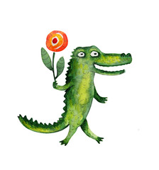 Crocodile with flower. Watercolor illustration