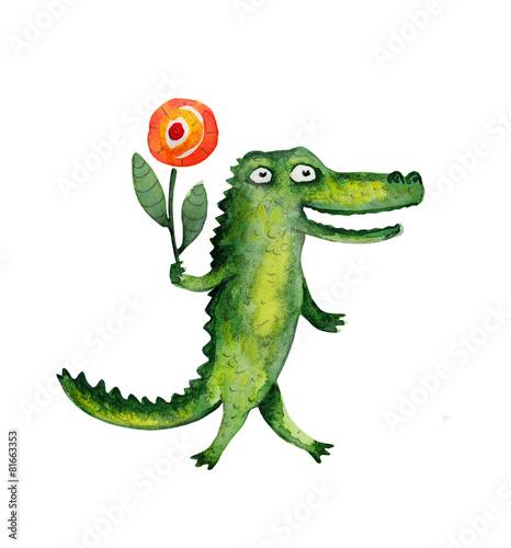 Leinwanddruck Bild Crocodile with flower. Watercolor illustration