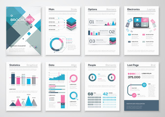 Big set of business brochures and infographic vector elements