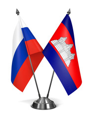 Russia and Cambodia - Miniature Flags.