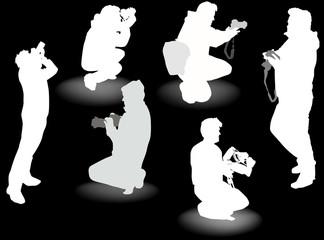 six photographers isolated on black