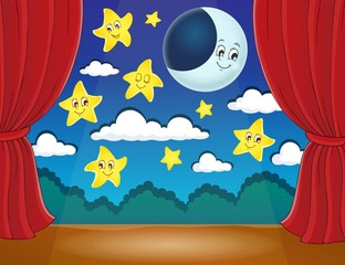 Stage with happy stars and moon