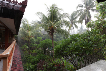 Rainy day at resort in bali indonesia