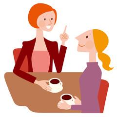 珈琲を飲みながら話す女性達