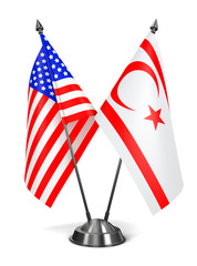 USA and Turkish Republic Northern Cyprus - Miniature Flags.