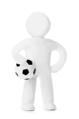 Plasticine man with soccer ball