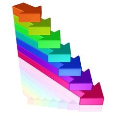 Treppe aus bunten Pfeilen