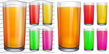 Transparent and opaque glasses with opaque colored juice poster