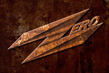 zero sign on metal rust background