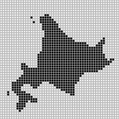 北海道のピクセルアート(黒と白)