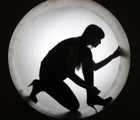 stylish silhouette  woman in circle