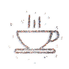 people in the form  a cup of coffee.