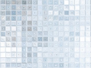 Blue and white glass mosaic