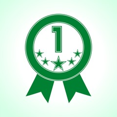 Green Number 1 with five stars icon - Illustration