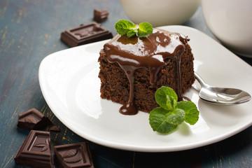 chocolate brownies on dark background