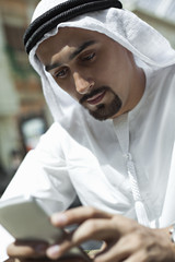 Arabian Male Using Smart Phone