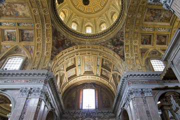 Interiors and details of San Gregorio Armeno church  in Naples,