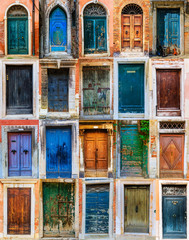 Collage of colourful front doors to houses and homes, collection