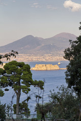 Panorama of Naples, view of the port in the Gulf of Naples