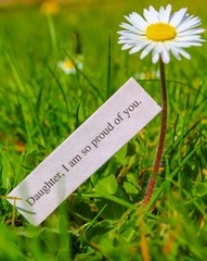 Daugher, I am proud of you - Note against a tall daisy