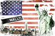 New York City vintage collage, US flag background