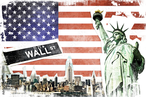 New York City vintage collage, US flag background - 81673985