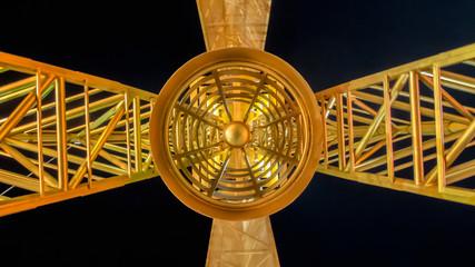 Look Up under Steel Tower in The Dark