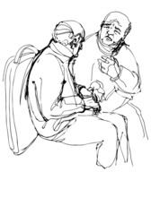 sketch of two grandfather communicate sitting on the bus