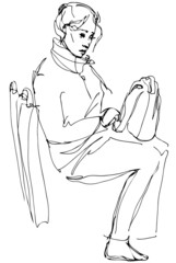 sketch of a woman with a bag sitting on the bus