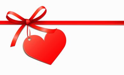 Schleifenband mit Herz-Etikett