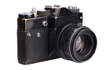 Old film camera in black