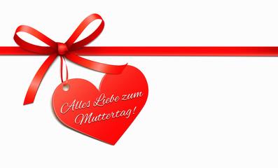 Rotes Schleifenband mit Herz-Etikett - Muttertag