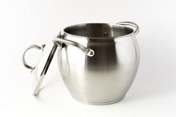 Steel casserole on white background