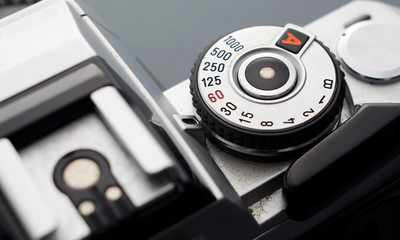 Close up of a vintage camera
