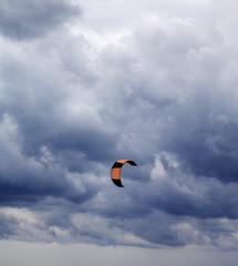 Power kite and gray sky