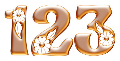 1,2 and 3 numbers Ornamental  in gold on white background.