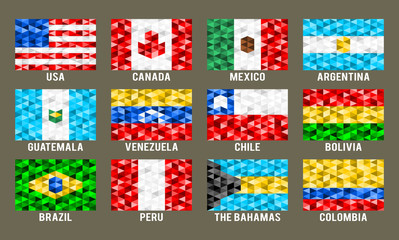North & South America low poly flags vector illustration