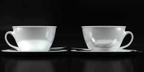 Cup mockups on black background