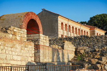 Ruins of the wall around old Nessebar town, Bulgaria