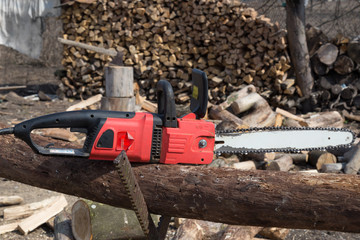 Carpenter tools Timber cutting wood with old saw, chainsaw and b