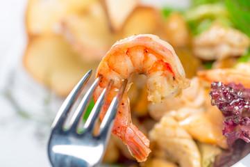 shrimp sticking on fork