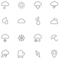 Set outline weather icons for web and mobile applications.