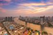 Beautiful sky of Chao Phraya river after sunset