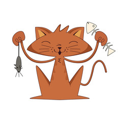 Cat holding mouse and fish bone