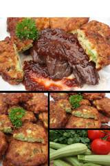 Onglet sauce à l'échalote - Beignets de Courgettes