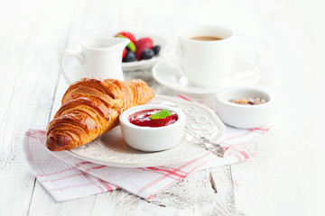 Fresh croissants with jam
