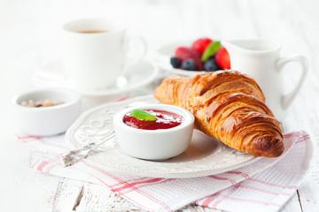 Fresh croissants with jam