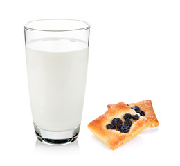 milk and cracker with raisins isolated on white background