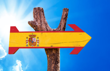 Spain Flag wooden sign with sky background