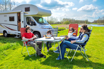 Family vacation, RV (camper) travel with kids, trip in motorhome